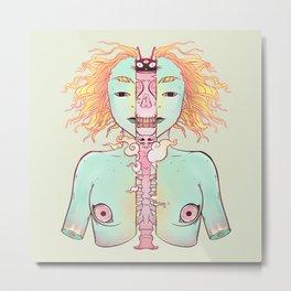 Split Skeleton Girl With Cat Head Metal Print