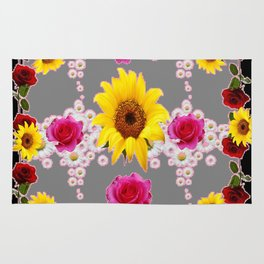 RED ROSES SUNFLOWERS & WHITE DAISIES BLACK VIGNETTE Rug