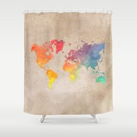 world maps Shower Curtains featuring World Map Maps by jbjart