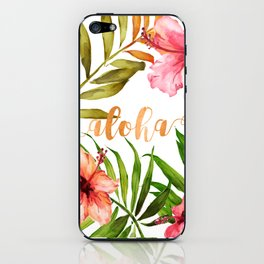 Aloha Watercolor Tropical Hawaiian leaves and flowers iPhone Skin
