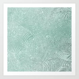 Tropical mint green watercolor silver glitter palm tree Art Print
