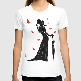 Silhouette of Lady with Umbrella T-shirt