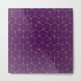 Gold hexagonal geometric pattern Metal Print