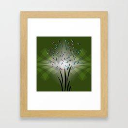 Green-Black Flower Framed Art Print