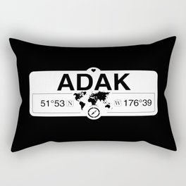 Adak Alaska GPS Coordinates Map Artwork with Compass Rectangular Pillow