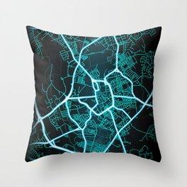 Stoke on Trent, England, Blue, White, Neon, Glow, City, Map Throw Pillow