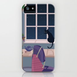 Cat & plant hoarder room iPhone Case