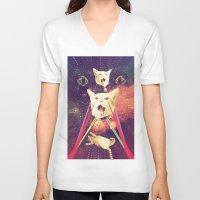 saga V-neck T-shirts featuring galactic Cats Saga 4 by Carolina Nino