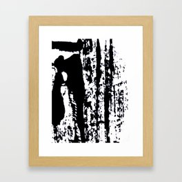 Blank: a minimal black and white linoprint Framed Art Print
