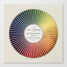 Chevreul Cercle Chromatique, 1861 Remake, vintage wash Canvas Print