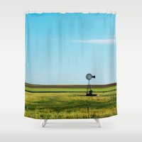 kansas Shower Curtains featuring Kansas Skyline by Marie Apel