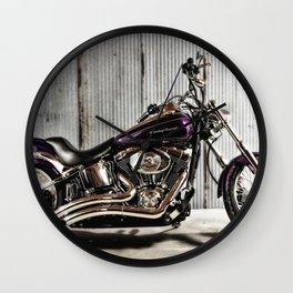 Purple Harley Softail Wall Clock