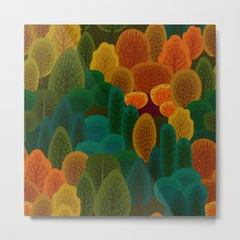 Stylized Autumn color trees pattern Metal Print