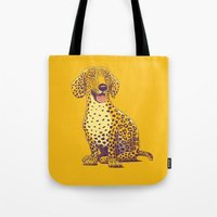 daschund Tote Bags featuring Take a Woof on the Wild Side! by victor calahan