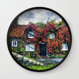 Autumn Cottage Wall Clock