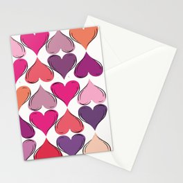 colerfull hearts Stationery Cards