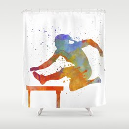 Female Athlete Jumping Over A Hurdles 01 Shower Curtain