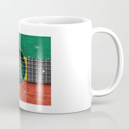 Old Vintage Acoustic Guitar with Ethiopian Flag Coffee Mug