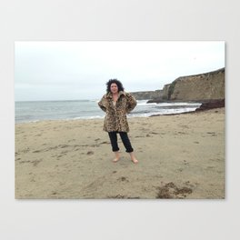 Leopard Spot Coat at the Beach Canvas Print