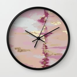 Pink and Gold Abstract Art Wall Clock