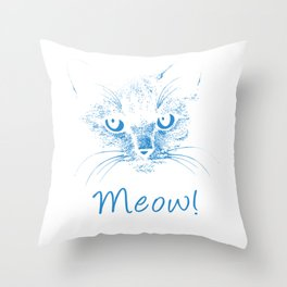Meow! Simple Cat Style wb Throw Pillow