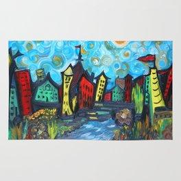 Primary color Cityscape Rug