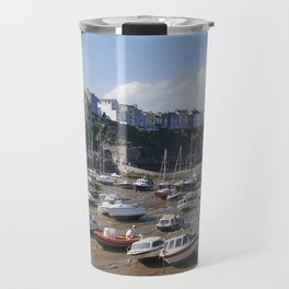 Boats in Tenby Harbour at low tide. Wales, UK. Travel Mug
