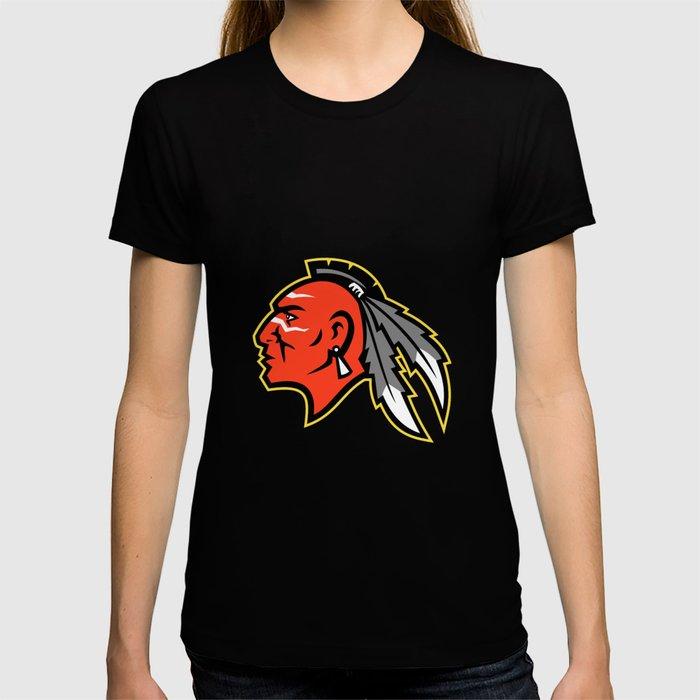 Mohawk Brave Warrior Head Side Mascot T-shirt