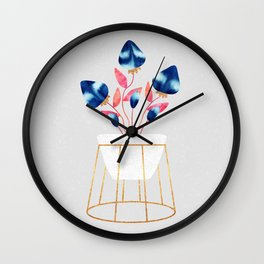 Blue Strawberry Flowers Wall Clock