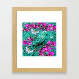 PURPLE ORCHIDS BUTTERFLIES TURQUOISE TROPICAL MACAW PARROT Framed Art Print