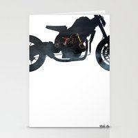cafe racer Stationery Cards featuring cafe racer fighter bike by Daniele Faro
