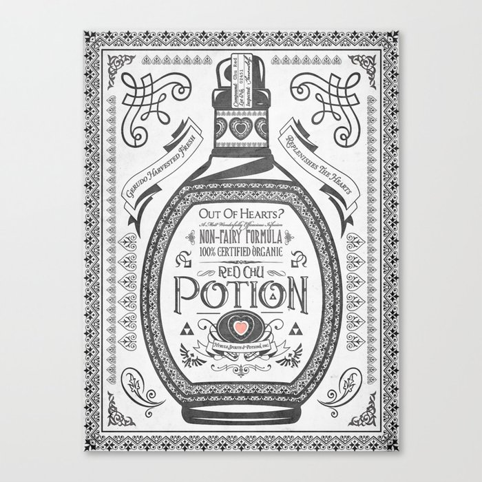 Legend of Zelda Red Potion Vintage Hyrule Line Work Letterpress Canvas Print