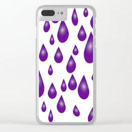 Purple Raindrops Clear iPhone Case