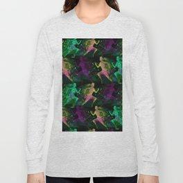 Watercolor women runner pattern on Dark Background Long Sleeve T-shirt