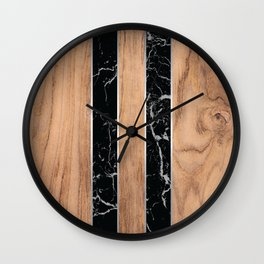Wood Grain Stripes Black Granite #175 Wall Clock