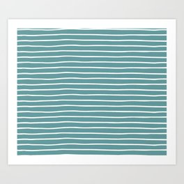 Dusty Turquoise & White Handdrawn Stripes Art Print