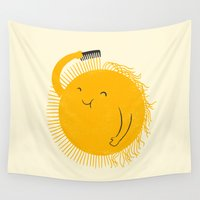 ilovedoodle Wall Tapestries featuring Here comes the sun by I Love Doodle