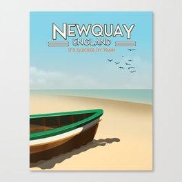 Newquay England beach poster. Canvas Print