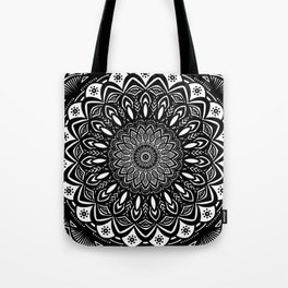 Bold Mandala Black and White Simple Minimal Minimalistic Tote Bag