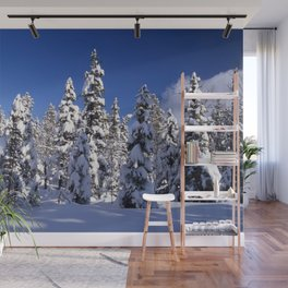 Snow covered trees in the forest. Winter day with blue sky. Wall Mural
