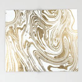 Stylish white faux gold foil elegant marble Throw Blanket