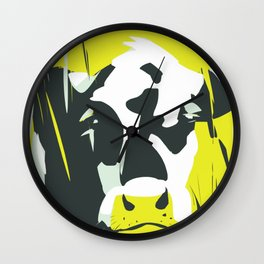Cow in yellow sunny day Wall Clock