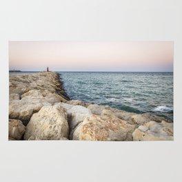 Sunset at the seawall Rug