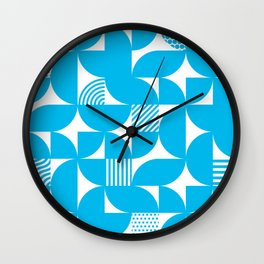 Turquoise Mid Century Bauhaus Semi Circle Pattern Wall Clock