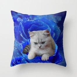 Cat and Rose Throw Pillow