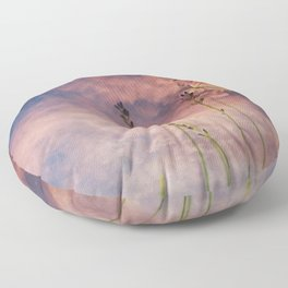 Butterfly and Blush Pink and Indigo Blue Sunset Floor Pillow