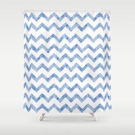 Chevron Light Blue And White Shower Curtain