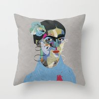 frida Throw Pillows featuring Frida by Zaneta Antosik