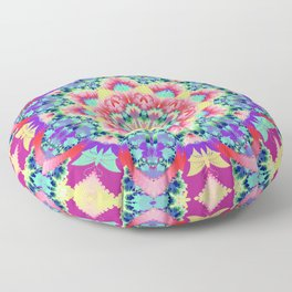 Whimsical floral kaleidoscope with butterflies Floor Pillow