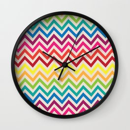 Multi-Colored Rainbow Candy Chevron pattern Wall Clock